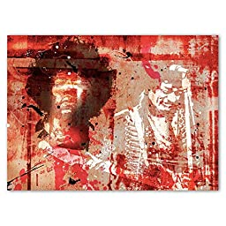 Neron Art - Hand painted Music Oil Painting on Rolled Canvas for Living Room Wall Decor - Jimi Hendrix Red 48X34 inch
