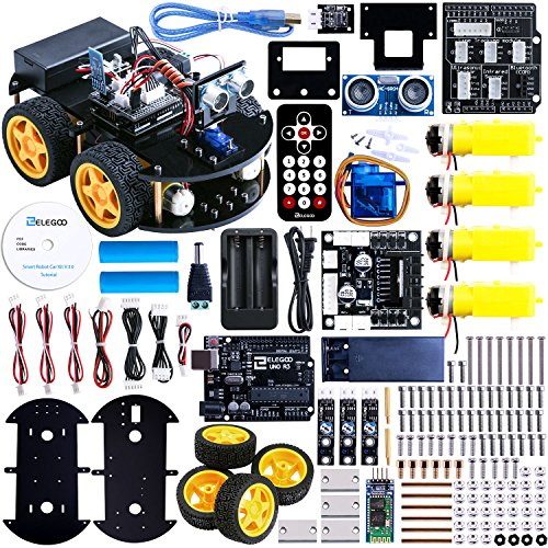 Elegoo UNO Project Upgraded Smart Robot Car Kit with UNO R3, Line Tracking Module, Ultrasonic Sensor, Bluetooth module ect. Latest Intelligent and Educational Toy Car for Kids Boys 2016 new version