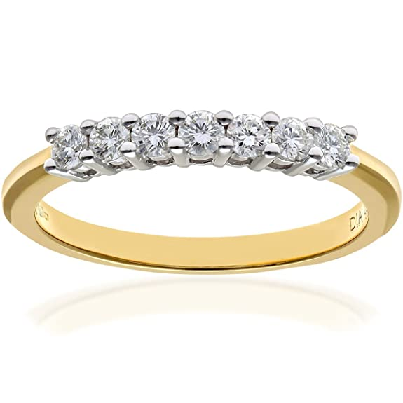 Naava 18 ct Gold 7 stone Eternity Ring, IJ/I Certified Diamonds, Round Brilliant, 0.33 ct