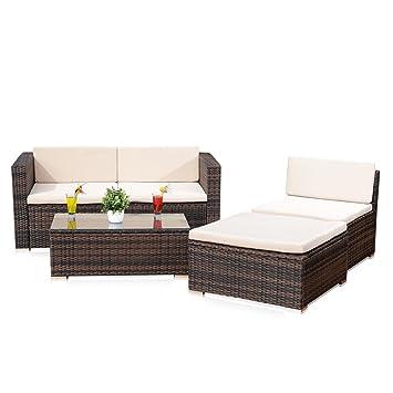 5tlg. Garten Ecksofa Lounge mit Tisch + Polster in braun aus Polyrattan