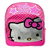 Hello Kitty Kid's Backpack - Pink Polka Dot Stars - Silver Hello Kitty Head