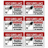 Best Home and Business Security Camera & Video Surveillance Sticker for Indoor Outdoor Use Long Lasting Weatherproof Window & Door Security 4 x 3 in. 6-Pack Stickers with FREE 1yr Warranty Made in USA