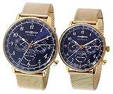 [ツェッペリン] ZEPPELIN 腕時計 LZ129 ヒンデンブルク HINDENBURG クオーツ ムーンフェイズ 週表示ポインター ドイツ製 7038M-3/7039M-3 ネイビー/ローズ ペアウォッチ [並行輸入品]