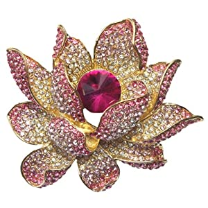 Lotus Dream Pink Crystal Diamante Petal Gold Tone Brooch Pin