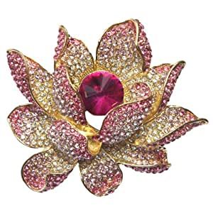 Lotus Dream Pink Crystal Diamante Petal Gold-Tone Brooch Pin