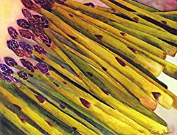 Asparagi, Giclee Print from Watercolor Kitchen Painting, 10 X 13 Inch Image