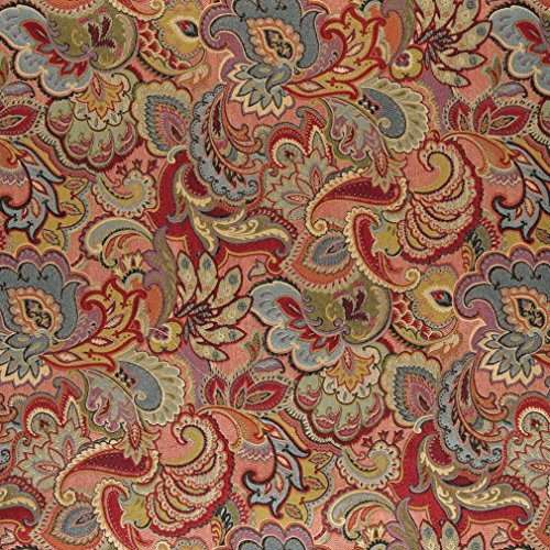 A0025B Green Blue Red And Gold Abstract Floral Upholstery Fabric By The Yard (Buy Upholstery Fabric compare prices)
