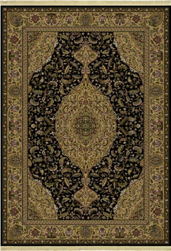 Shaw Living Kathy Ireland Home Essentials 5-Foot 5-Inch by 7-Foot 10-Inch Rug in Provencal Pattern, Ebony