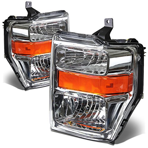 Ford Super Duty OE Style Headlight Amber Reflector Lamp Assembly (Chrome Housing) - 2 Gen F-250/F-350/F-450/F-550 (Oe Headlights compare prices)
