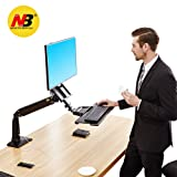 North Bayou Sit Stand Desk Converter Height Adjustable Standing Desk Workstation for 22''-35'' Monitor Computer Monitor Mount Arm with Keyboard Tray Black (Color: FC35: black 22''-35'' with keyboard tray)