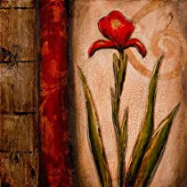 Yosemite Home Decor YA100035C A Kiss of Red Hand Painted Floral Wall Art