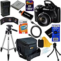 Canon PowerShot SX510 HS 12.1 MP CMOS Digital Camera with 30x Optical Zoom and Full-HD Video + NB-6L Battery & AC/DC Battery Charger + 10pc Bundle 32GB Deluxe Accessory Kit w/ HeroFiber® Ultra Gentle Cleaning Cloth by Canon