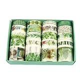 Fresh Green Washi Tape 20 Rolls, Grass Leaf Flower Tree Fruit Kawaii Cake Animal Washi Masking Tape Set for Scrapbooking, Bullet Journal, Planner, Gift Wrapping, Holiday Decoration (Color: Green)