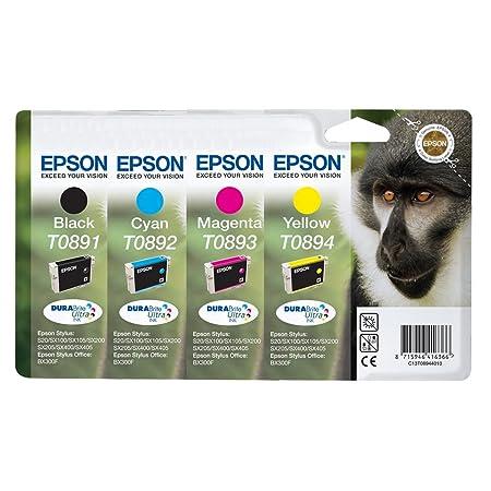 4 x Epson Cartouches d'encre T089 - Noir, Cyan, Magenta, Jaune
