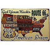ERLOOD Route Us Road 66 License - Retro Vintage Tin Sign 12