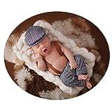 Coberllus Newborn Monthly Baby Photo Props Stripe Cool Boys Cap Rompers Photography (Grey) (Color: Grey, Tamaño: Medium)