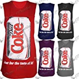 New Womens Ladies Celebrity Diet Coke Sleeveless Tank Vest Top Long Tee T Shirt