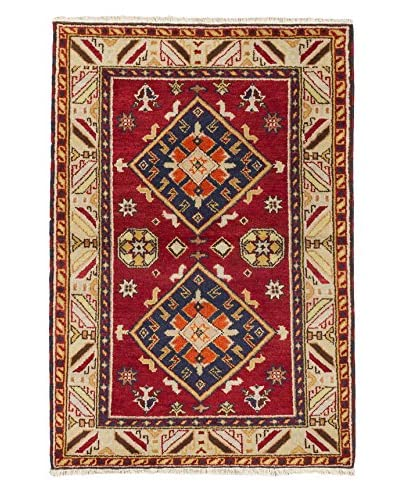 Hand-Knotted Royal Kazak Rug, Dark Red, 4' 2 x 6'