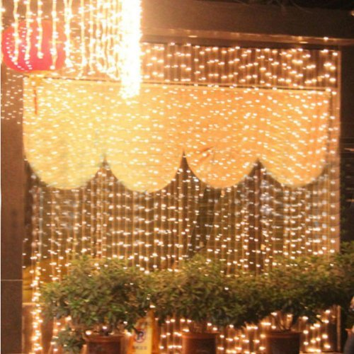 Lemonbest Beautiful 1000 Leds Led Curtain Light Decoration Christmas Fairy Festival Wedding Stage Light Lamp Bulb String Strips Rope Lights String Warm White 10M X 3M Style