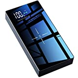 Wireless Portable Charger, TOVAOON 20000mAh Wireless Power Bank External Battery Pack with LED Display and Full Glass Panel Compatible with Qi Wireless Charging Device or Dual USB Output(Black) (Color: Black)