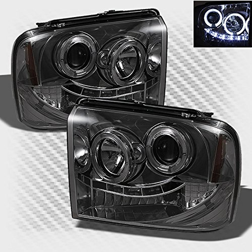 Smoked 2005-2007 F250 F350 F450 Super Duty Halo LED Projector Headlights Head Lights Pair Left+Right 2006 (F350 Smoked Headlights compare prices)