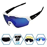 GIEADUN Sports Sunglasses Protection Cycling Glasses with 4 Interchangeable Lenses Polarized UV400 for Cycling, Baseball,Fishing, Ski Running,Golf (White Black) (Color: White Black)