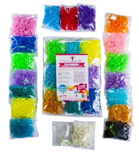 5400Pc Gorgeous Loom Band Refill Kit ★ Independently Us Lab Tested Free Of Lead & Phthalates ★ 300 Each Of 18 Bright Colors ★ 365 Day 100% Guarantee ★ Free In-Depth Step-By-Step Tutorials For Looming With Over 101 Custom Photos Using Rainbow Braid Bands ★