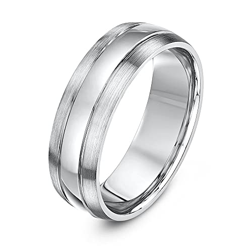 Theia Court Shaped, Super Heavy Weight, Matt Sides Polished Center Palladium 950 Wedding Ring, 6 mm