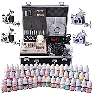 Aw complete tattoo kit 54 color ink 4 machine for Amazon tattoo machine