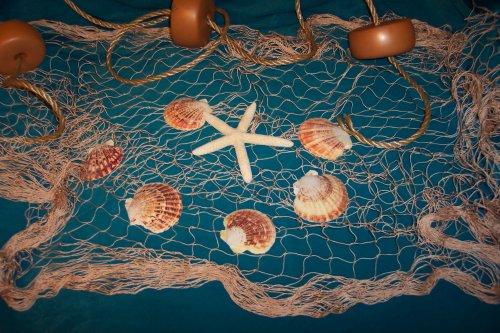Fishing Net, 6 X 9 Ft Fish Net, Netting Shells, Starfish, Floats Decorative Nautical Decor Display
