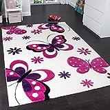 Kids' Rug - Butterfly Design - Children's Rug - Creme Pink Purple, Size:80x150 cm
