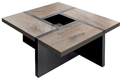 Regalwelt Quadro-Uno - Mesa de centro (80 x 80 x 47 cm, base en negro y tablero disponible en varios colores)