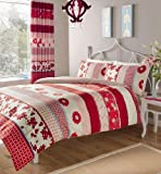 RED & PINK PATTERNED PRINTED KING SIZE DUVET COVER BED SET