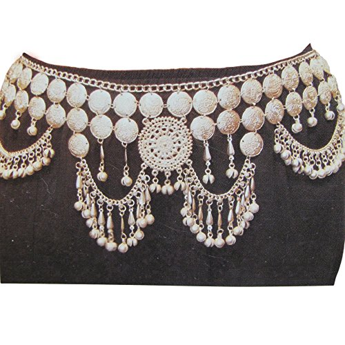 Bellydance Coin Gypsy Jewelry Egyptian Tribal Waist Silver-Toned Fashion Belt