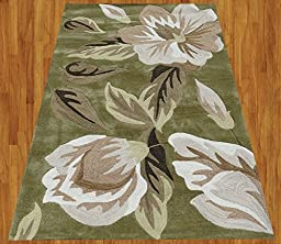 Homemusthaves White Black Brown Green New Modern Contemporary Floral 3D Polyester Wool Area Rug Carpet (2.6x4 Feet)