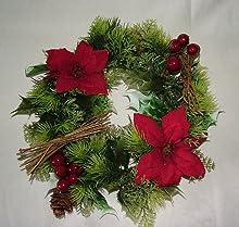25,4 cm pulgada Artificial rojas y Holly corona de Navidad para interiores y exteriores