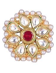 Chokers And Charms Beautiful Rajwada Style Flower Shaped Kundan Ring For Women