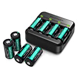 RCR123A Rechargeable Batteries RAVPower [8 Pack 3.7V 750mAh ] Protected Batteries with Battery Case and Arlo Battery Charger for Arlo VMC3030 VMK3200 VMS3330 3430 3530 Wireless Security Cameras (Color: Black)