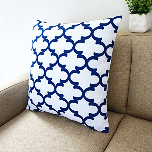 Blue And White Howarmer Square Cotton Canvas Decorative Throw Magnificent Navy And White Decorative Pillows