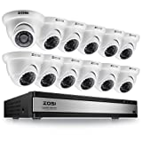 ZOSI 720p 16 Channel Video Surveillance System,16 Channel Hybrid DVR Recorder with 12 x 1280TVL(720p) Weatherproof Indoor/Outdoor Dome Camera Kit,Easy Remote Access,No Hard Drive (Color: 720p:16CH+12cams)