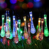 リーダーテク(lederTEK) ソーラー 防雨防水型 カラー 水滴形 電飾 イルミネーション LED 4.8m 20球 8点滅モデル クリスマス ライト 飾り付け