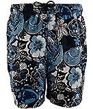 Nautica Men's Blue White Black Floral Print Swim Trunk