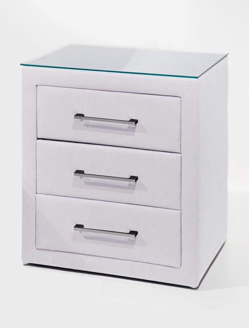 Nachttisch Paulo 1 atmungsaktives Kunstleder weiß 57×61 cm mit Glasplatte Nachtkonsole Nako Nachtschrank online kaufen