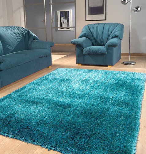 Polyester Turquoise Area Rug Hand Tufted Size 5 X7