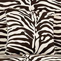 Sure Fit 182031362G_BLKWHT Velvet Zebra Print Throw Pillow, 18-Inch, Black/White