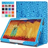 MoKo Samsung Galaxy Note 10.1 2014 Edition Case - Slim Folding Cover Case for Note 10.1 Inch 2014 Edition Tablet, Cutie Charm BLUE (With Smart Cover Auto Wake / Sleep)