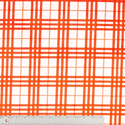 Orange And White Plaid Modern Print On Plush Minky Cuddle Fabric - 10 Yards front-816540