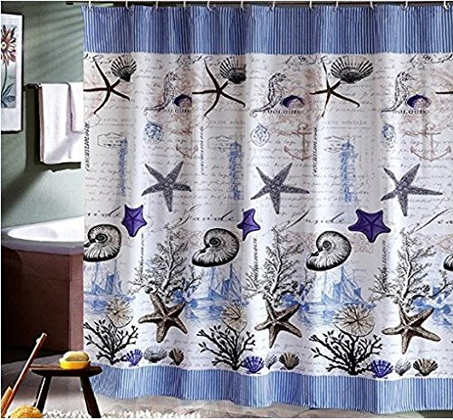 Eforcurtain fish pattern shower curtain waterproof and for Do shower curtains come in different lengths