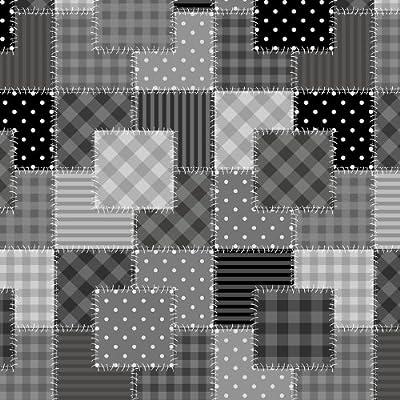 Wachstuch Breite 80 cm Länge wählbar - Flicken Schwarz Weiss Grau - Größe ECKIG Main abwaschbare Tischdecke Wachstücher Gartentischdecke von DHT-Wachstuch - Gartenmöbel von Du und Dein Garten