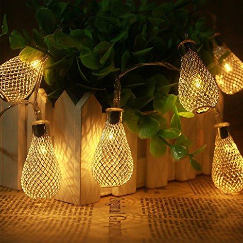 Xcellent Global 12-LED 2-Mode Batteriebetriebene Birnen-Lichterkette für Außen, Innen, Weihnachten, Hochzeiten, Parties, Garten, Rasen, Terrassen Dekoration LD062